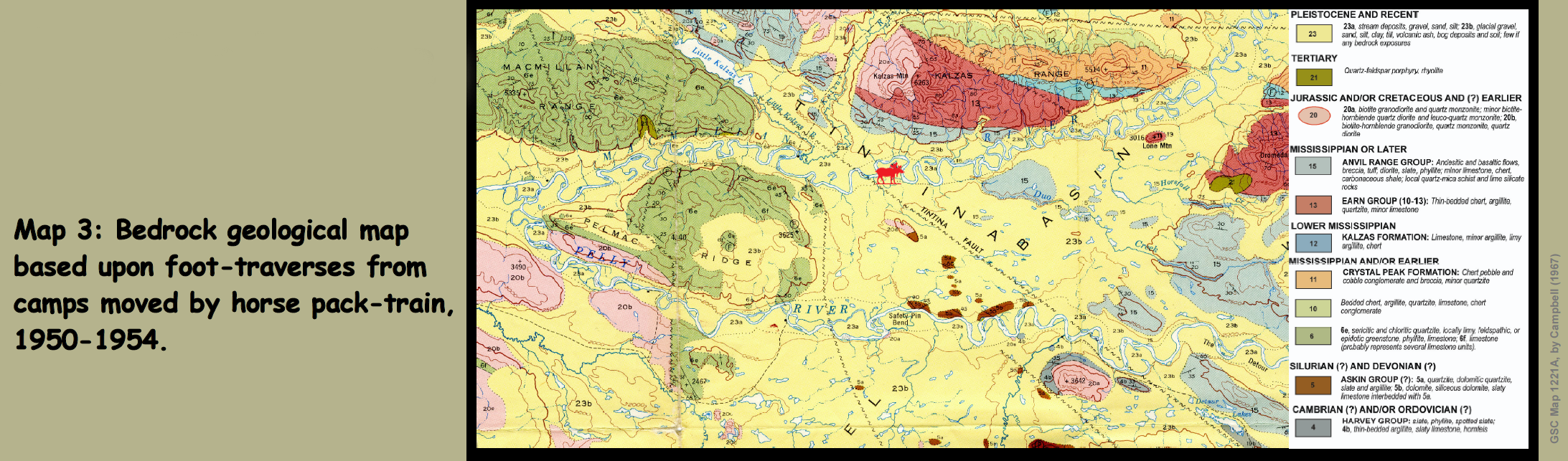 Map 3: Bedrock geological map based upon foot-traverses from camps moved by horse pack-train, 1950-1954